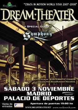 Cartel de Dream Theater y Shymphony X del 3 de noviembre de 2007