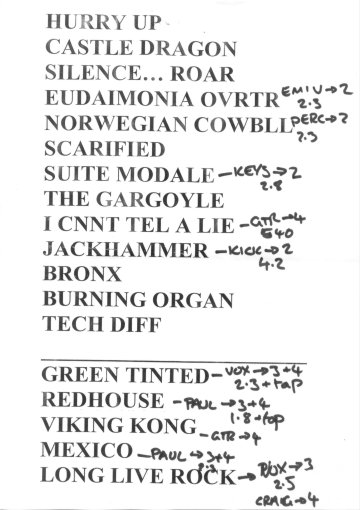 Setlist de Paul Gilbert para el 30 de octubre de 2008, en Madrid
