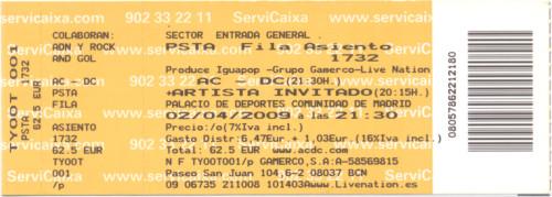 AC/DC, 2 de abril de 2009