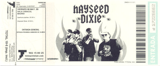 Hayseed Dixie, 8 de mayo de 2009