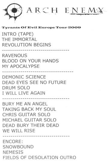 Setlist gira de  Arch Enemy 2009