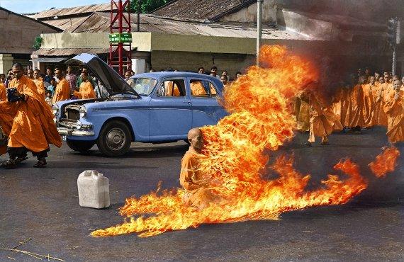 Burning Monk (coloured)