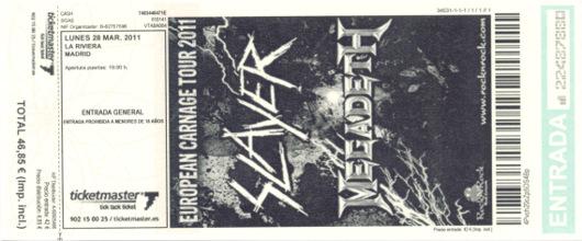 Megadeth + Slayer, 28 de marzo de 2011
