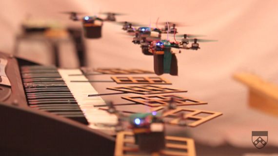 Robot Quadrotors Perform James Bond Theme