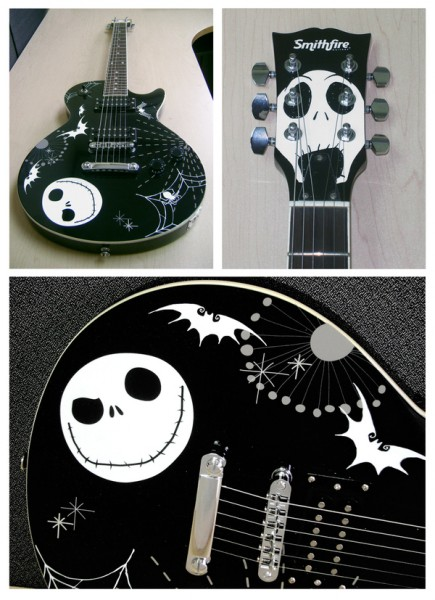 40'' Les Paul type guitar with two humbuckers and solid mahogany body, featuring the art of The Nightmare Before Christmas by Tim Burton/The Walt Disney Company.