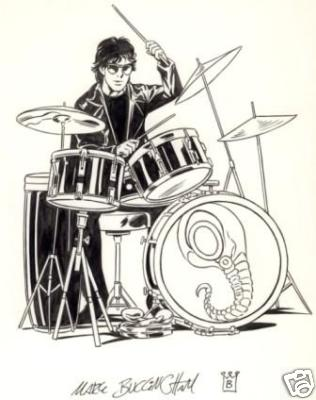 Neil Gaiman on the drums